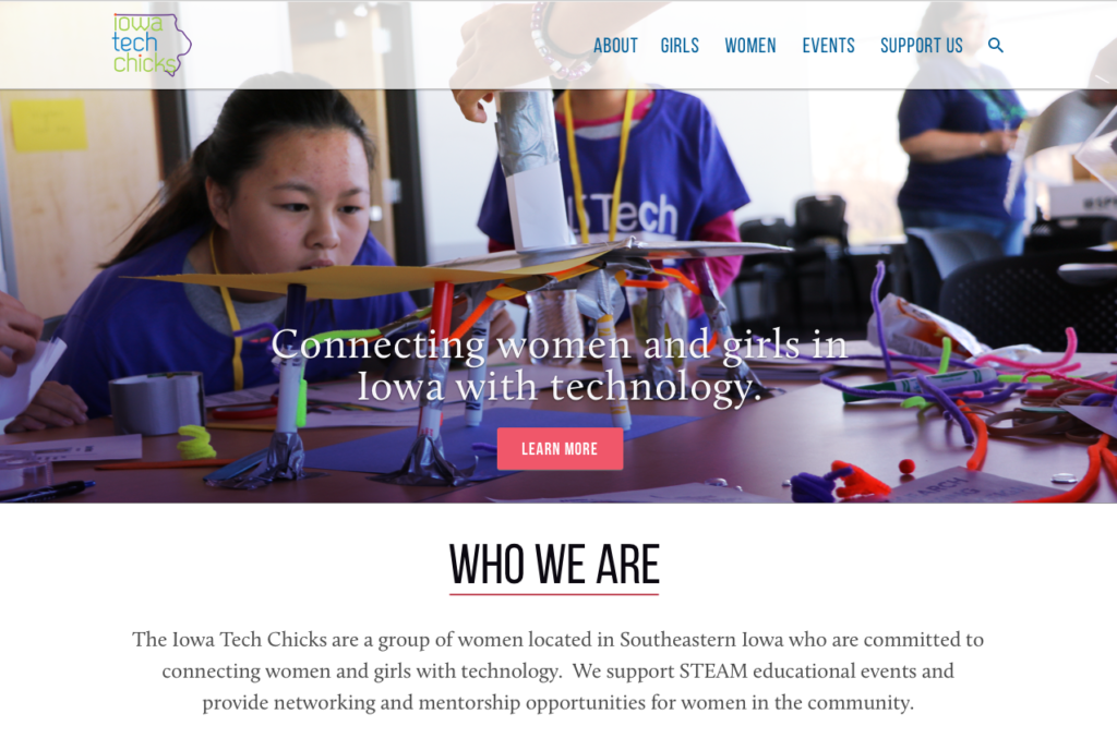 Preview of Iowa Tech Chicks website design concept.